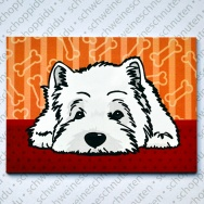 West Highland Terrier liegend (red bones)