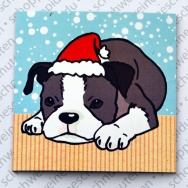 Xmas Boston Terrier liegend